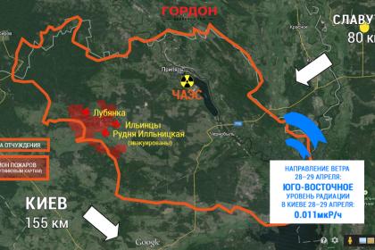 Карта пожара в Чернобыльской зоне (ИНФОГРАФИКА)