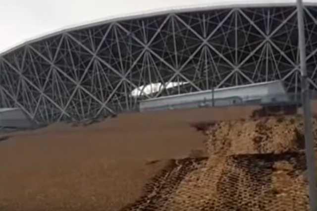 В Волгограде дождем размыло стадион чемпионата мира